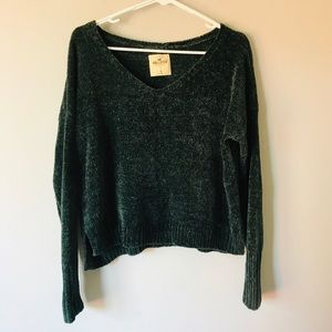 Hollister green chenille cropped sweater S